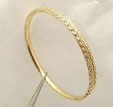 Framed Wheat Spiga Link Round Bangle Bracelet Real Solid 18K Yellow Gold