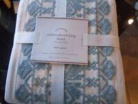 Pottery Barn embroidered stripe  duvet full queen porcelain blue   New