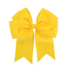 "6"" Baby Girls kids Ribbon 6 inch cheer Hair Bow clip Quality Bows School Clips"