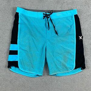 Hurley Men's Swim Trunks Shorts Size 33 Baby Blue Striped Drawstring Athletic