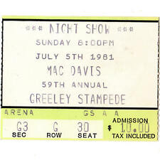 Mac Davis Concert Ticket Stub Greeley Colorado 7/5/81 Baby Dont Get Hooked On Me