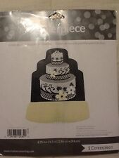 NIP Chic Wedding Cake Honeycomb Centerpiece Blk/Gry/Yellow Shower Party Decor
