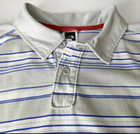 The North Face Mens Size L Polo Shirt Striped Short Sleeve Gray Blue Hiking Golf