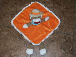 Baby Starters Orange Sock Monkey Tan Safari Hat Rattle Security Blanket Lovey