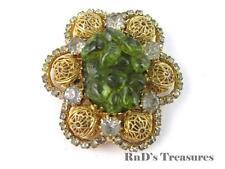 "Vintage Faux Jade Cluster Rhinestone Gold Tone Filigree Ball Brooch Pendant 2"""