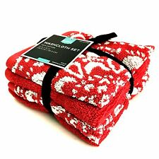 Washcloth Set of 4 Thick Cotton 12 x 12 inch Red White HOME Holiday Theme