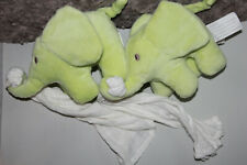 DOUDOU KIMBALOO LA HALLE ELEPHANT VERT MOUCHOIR BLANC LOT DE 2 ETAT NEUF