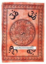Aum OM Sign on Wall Hanging Cotton Tapestry 40X28 Inches