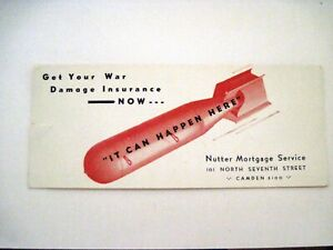"Fascinating Vintage Ad Blotter ""Nutter Mortgage Service"" w/ Big Red Bomb   *"