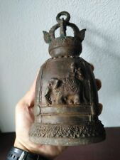 Antique Thai Bell Elephant Buddha Clapper Sound Temple Hanging Decor Collect #3
