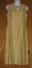 Vintage 1960s Marshall Field & Company Keyhole Gold La'me Cocktail Dress NWT 38B