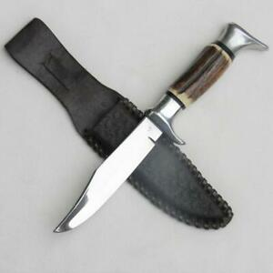EDGE BRAND Solingen Germany 1960th ORIGINAL BOWIE KNIFE stag mod 54, 5-in blade