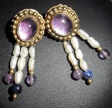 925 Sterling Silver Gilt Amethyst, Rice Pearl & Lapis Lazuli Earrings ~ E0016