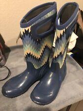 Bogs Tall Rain Boots Womens,Blue Geometric Waterproof Neo Tech Lite (5°F)