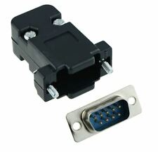 9-Way D Sub Connector Male Plug with Black Hood Cover
