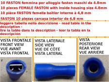 10 PCS TERMINALE CAPICORDA FASTON PREISOLATI FEMMINA INTERNO 4.8MM COME TABELLA