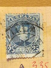 N°335 Timbre oblitéré à décoller BE Espagne 1901 Alfonso 25c bleu