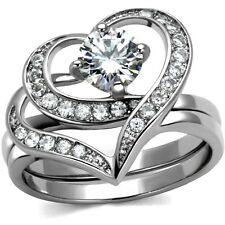 Size 4-12 Rhodium 10KT Wedding Engagement Ring Heart Shape Anniversary Propose