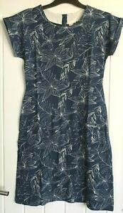 New ex Weird Fish UK size 16 Blue Floral Print Organic Cotton Jersey dress