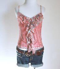 Juniors Silk Floral Ruffle Button Down V Neck Cami Tank Top Shirt Blouse S M