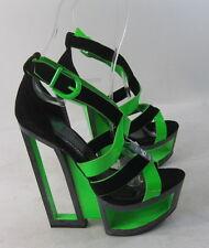 "Shiekh Blacks /green   6"" wedge high heel  2"" platform sandals shoes SIZE  6 p"