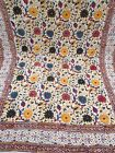"""Vtg Hand Dyed Muslin Cotton Floral Fabric Tapestry Bohemian Hippie 66""""x97"""