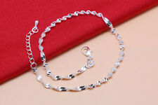 Stamped Stunning 925 Sterling Silver Wave Chain Anklet 21 cm + 3 cm TI0008
