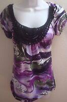 top blouse small s womens casual purple green black print crochet stretch