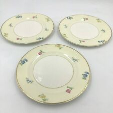 "3 Pope Gosser Paula Salad Plates 7-1/4"" Pink Blue Flowers Gold Rim China Vtg DH"