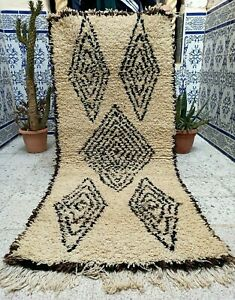 "Vintage Moroccan Tribal Rug Handmade Azilal Rug Carpet Berber wool 5'8"" x 2'5"""
