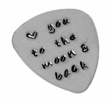 Heart Custom Guitar Pick Love you to the moon and back Hand Stamped Music Lovers