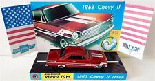 Hot Wheels 1963 CHEVY II NOVA Red Chevrolet Model Car on Custom Repro Display