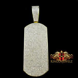 WHITE LAB SIMULATE DIAMOND ON 14K YELLOW GOLD FINISH CLASSY CUSTOM DOG TAG CHARM