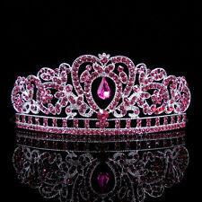 Kids Pink Heart Girl Children Wedding Prom Tiara Crown Headband - Kid Size