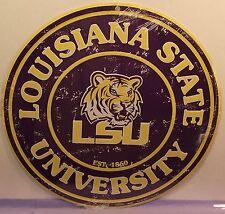 "LOUISIANA STATE UNIVERSITY ""LSU"", ROUND METAL SIGN COLLEGE-NCAA .UNISEX ADULT,"