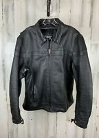 FMC Men's Black Leather Biker Jacket Excellent Genuine Leather Size L