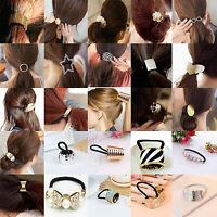 WOW Women Leaf Hair Band Rope Metal Hair Cuff Headband Elastic Ponytail Holder