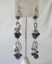 New Fashion Earrings Dropped Style  Metal Rings & Hematite Color Crystal Beads.