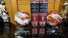 FABULOUS 17+ lbs Alabaster Marble BALL or GLOBE Bookends BEVELED Base AMAZING!!