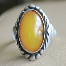 Antique Natural Baltic Amber Russian Soviet Silver 875 Ring size 5,5 US