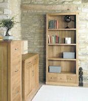 SOLID OAK TALL LARGE BOOKCASE OPEN DISPLAY UNIT