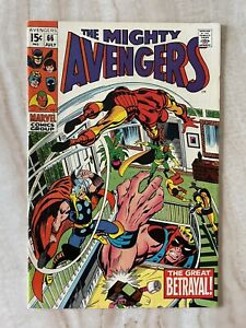 AVENGERS #66-1ST APPEARANCE ADAMANTIUM-1ST 15-CENT ISSUE-ULTRON APPEARS VF+ 8.5