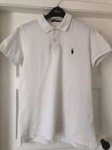 Ralph Lauren Skinny White Ladies/Girls Polo Shirt L/G