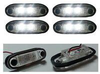 4x 12v Flush Fit Led White Front Side Marker Lamp Lights Position Camper Caravan