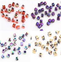 Wholesale 100/200Pcs Cube Glass Crystal Loose Spacer Beads Jewelry DIY 2x2x2mm