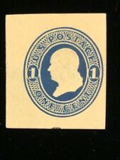 U.S: UNUSED #U109 CUT SQUARE, PARTIAL PRINT ON REVERSE CV $150