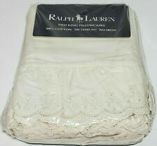 RARE NEW 2 Vintage Ralph Lauren Bromley Cream King Pillowcases Ruffled