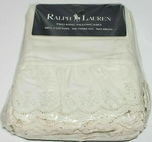 RARE NEW 2 Vintage Ralph Lauren Bromley Cream King Pillowcases Ruffled