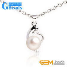 11x22mm Women Jewelry Freshwater Pearl Beads White Gold Plated Necklace Pendant