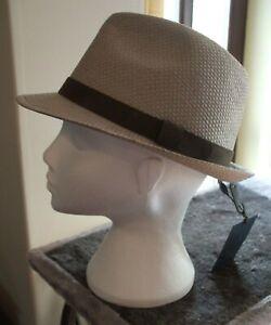 Men's Failsworth Narrow Brimmed Straw Trilby Hat Colour Dove Grey Size Medium